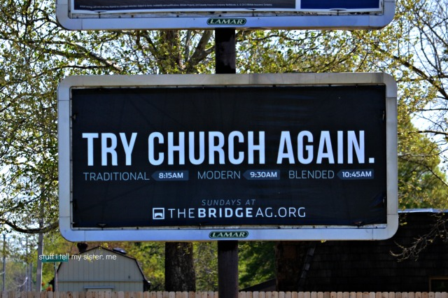 try church again sign